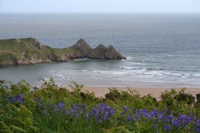 Three Cliffs Bay before the tide goes out
