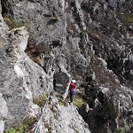 The tricky traverse on Flying Buttress